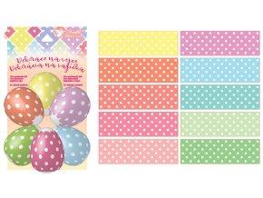 Smršťovací dekorace na vejce s puntíky 10ks + 10stojánků 7734