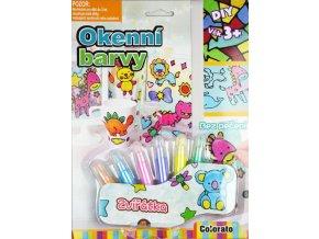 Okenní barvy - 6x třpytivé tužky - zvířátka