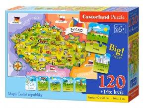 Puzzle mapa Česká republika 120 dílků + 14x kvíz