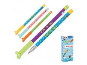 Gumovací pero M&G iErase / Hello Doggy 0,5 mm, přepisovatelný, modrý