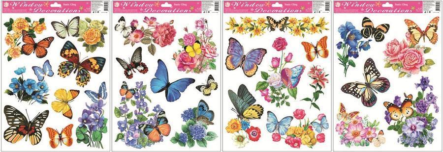 Okenní fólie motýli a květy 866, 42x30cm Okenní fólie: TYP - 1