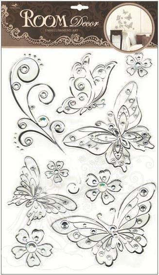 Samolepky na zeď motýli se stříbrnou konturou a kamínky plastická 1095, 49x29cm - 2 POSLEDNÍ KUSY -