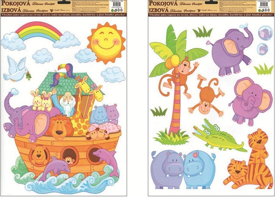 Samolepky na zeď Noemova archa 519, 42x30 cm Samolepící dekorace: 2. ZVÍŘÁTKA
