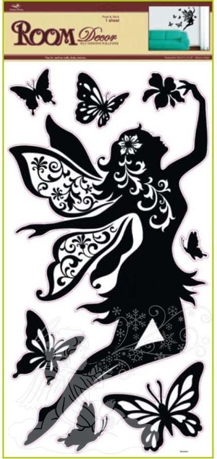 Samolepky na zeď černé s letící vílou 1041, 69x30cm - 2 POSLEDNÍ KUSY -