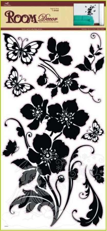Samolepky na zeď květina s motýli černá 1042, 69x30cm