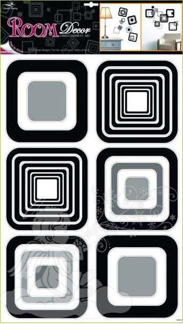 Samolepky na zeď čtverce černé 1062, 70x42cm