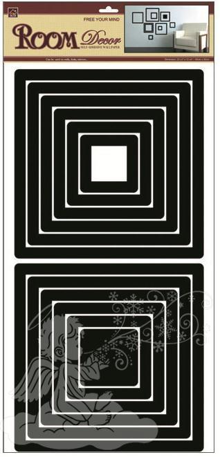 Samolepky na zeď čtverce černé 2 sady 1324, 69x32cm