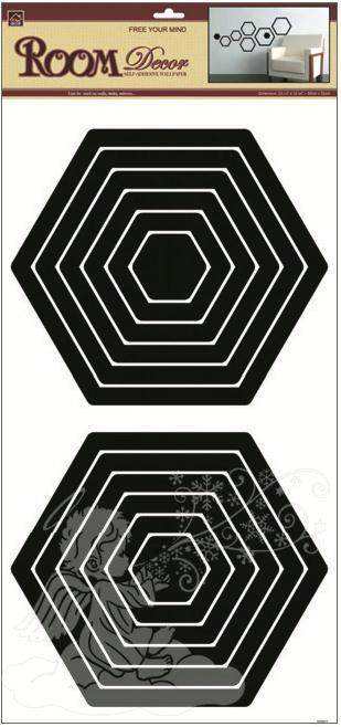 Samolepky na zeď šestiúhelník černý 2 sady 1325, 69x32cm