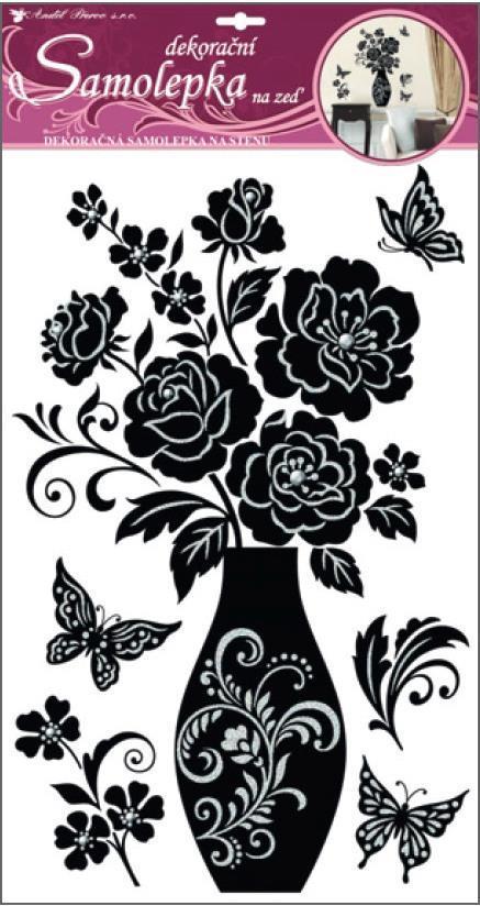 Samolepky na zeď šedá váza s růžemi 10020, 60x32cm