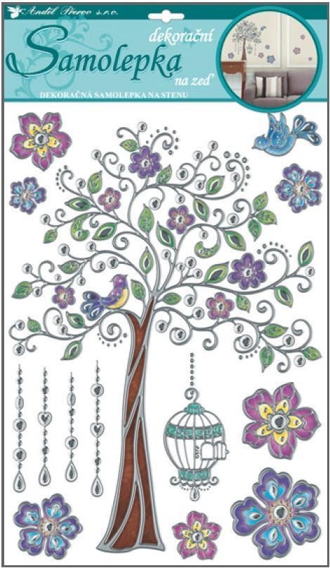 Samolepky na zeď barevný strom ze stříbrnou konturou 10021, 49x29cm