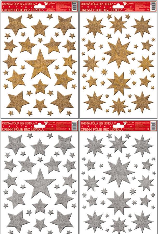 Okenní fólie hvězdy zlaté, stříbrné glitry 389, 30x20cm Okenní fólie: 1. PĚTICÍPÁ HVĚZDA ZLATÁ