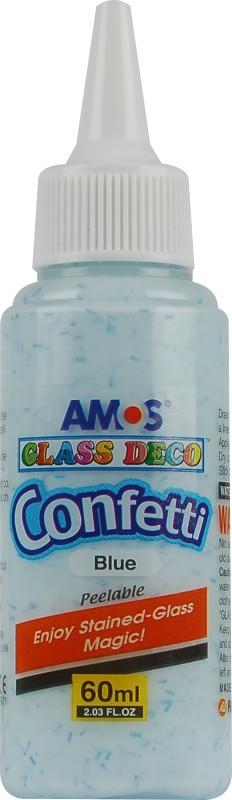 Barvy na sklo 60 ml s konfetami jednotlivě 5 odstínů Barva: Modrá