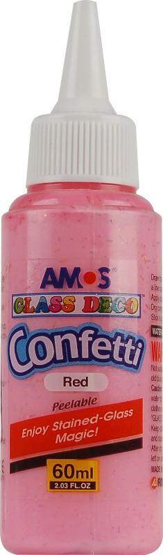 Barvy na sklo 60 ml s konfetami jednotlivě 5 odstínů Barva: Červená