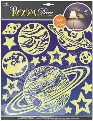 Samolepky na zeď planety svítící ve tmě 603, 31x29cm