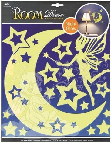 Samolepky na zeď víla s hvězdičkami svítící ve tmě 605, 31x29cm