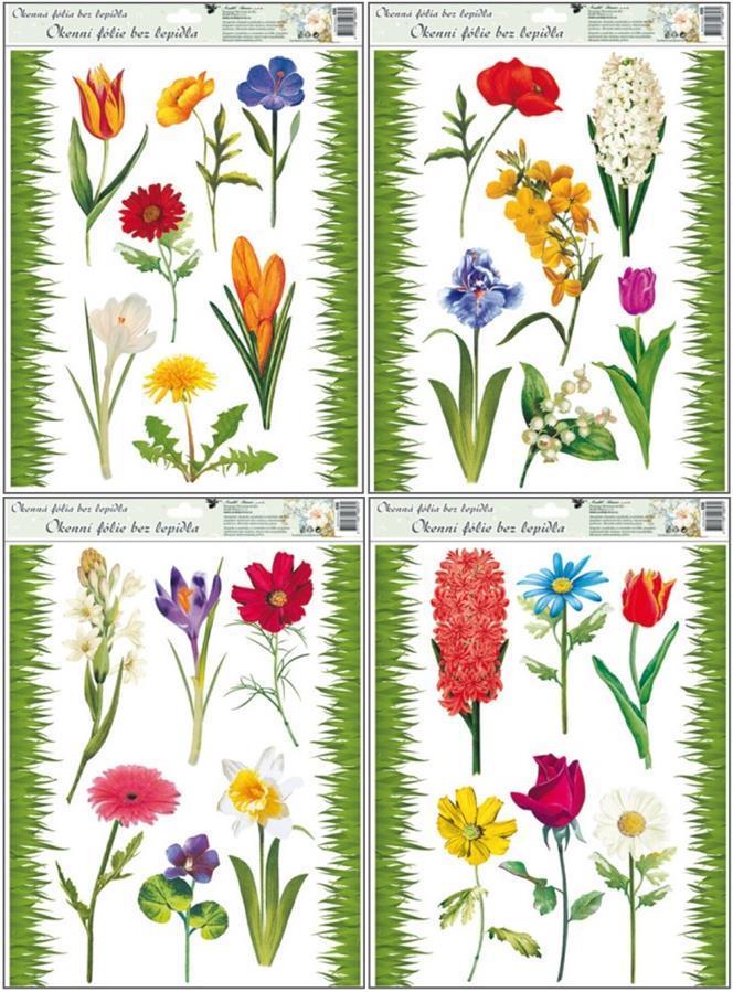 Fólie na okna travička a květinky 886, 42x30cm Typ: 1