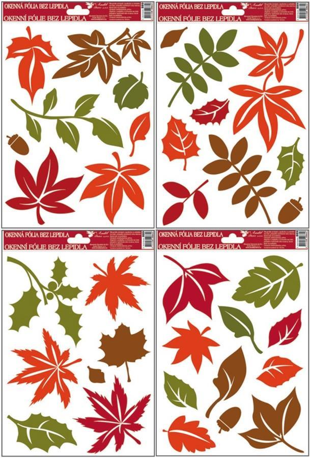 Fólie na okna barevné podzimní listy 889, 30x20cm Typ: 1