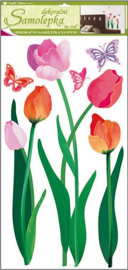 Samolepky na zeď barevné tulipány 10033, 69x32cm