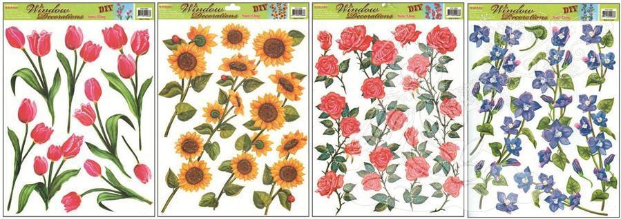 Okenní fólie 4 druhy květin 862, 42x30cm Okenní fólie: 2. SLUNEČNICE