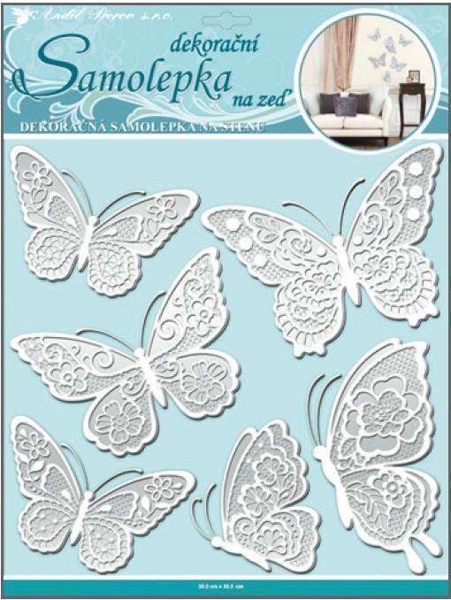 Samolepka na zeď motýli s bílými krajkovými křídly 10068, 40x31cm