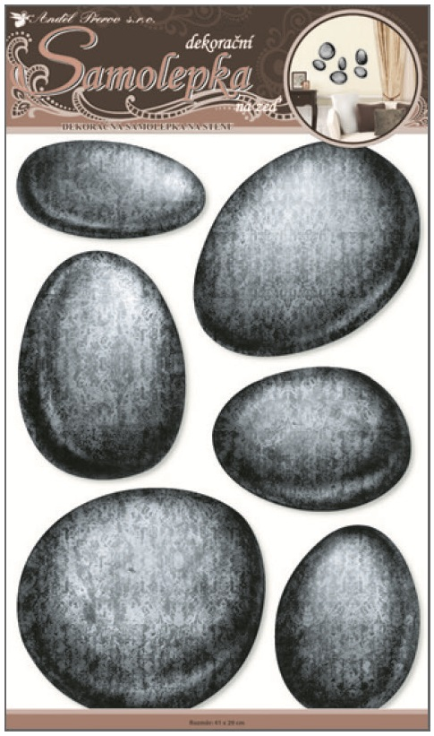 Samolepky na zeď 3D tmavé kameny vypouklé 10081 , 60x32cm