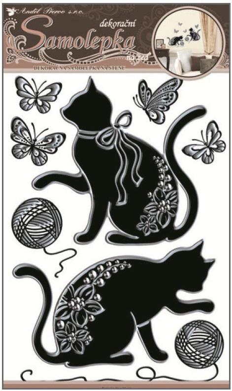 Samolepky na zeď kočky se stříbrnou konturou a kamínky 10082 , 49x29cm