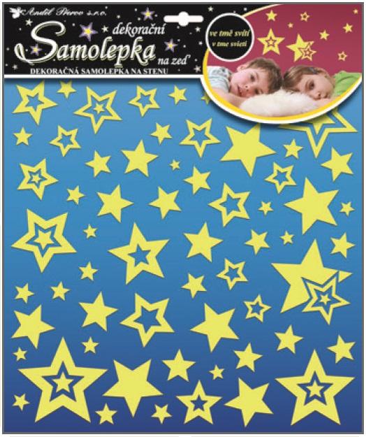 Samolepky na zeď hvězdičky s glitry svítící ve tmě 10093 , 31x29cm