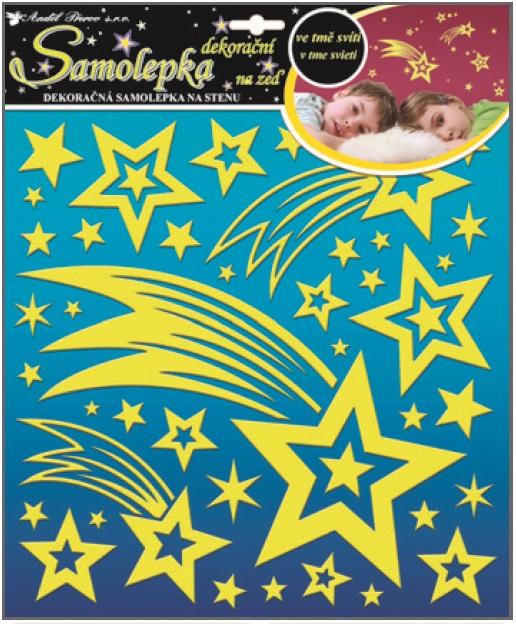 Samolepky na zeď kometa a hvězdičky s glitry svítící ve tmě 10094 , 31x29cm