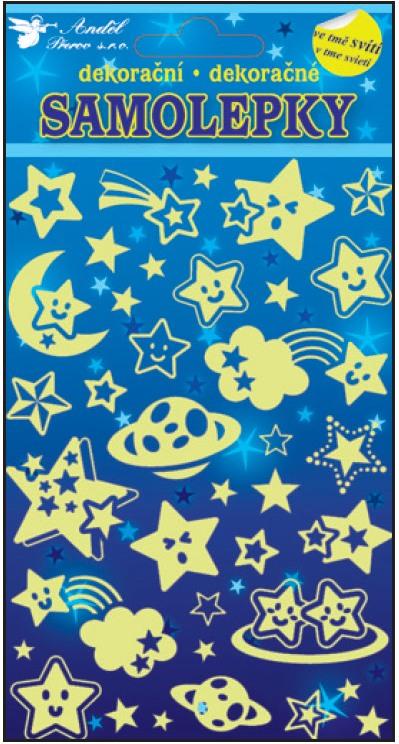 Samolepky svítící ve tmě hvězdičky 10101 , 19x10cm