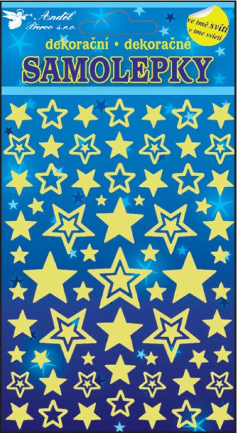 Samolepky svítící ve tmě hvězdičky 10102 , 21x13cm