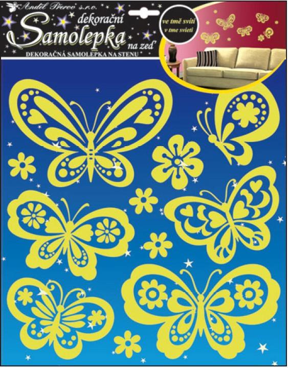 Samolepky na zeď svítící ve tmě motýli 10109 , 38x31cm