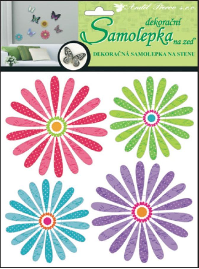 Samolepky na zeď 3D barevné květiny 10156 , 30x22x1cm, 4ks