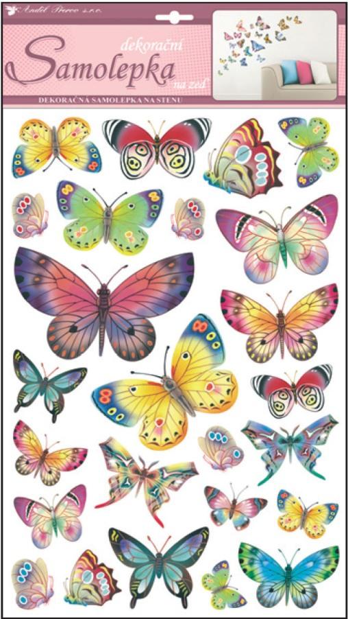 Samolepky na zeď barevní motýli 10141 , 53x29cm