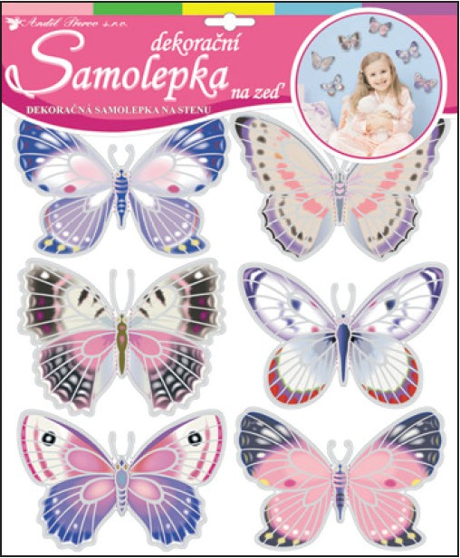 Samolepky na zeď hologramoví motýlci 10144 , 38x30,5cm