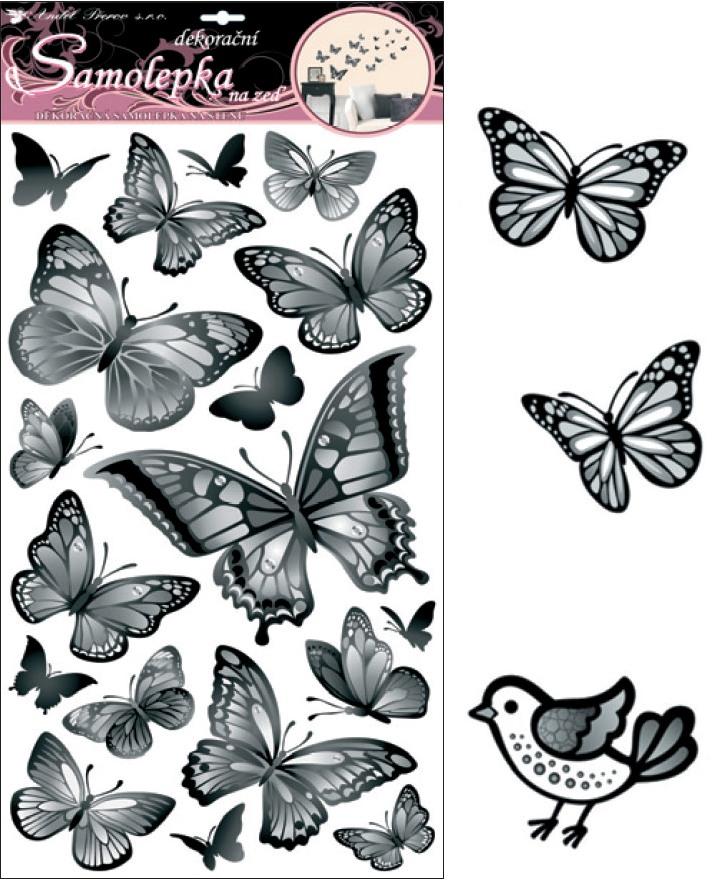 Samolepky na zeď černošedí motýli 10146 , 70x32cm - 2 POSLEDNÍ KUSY -