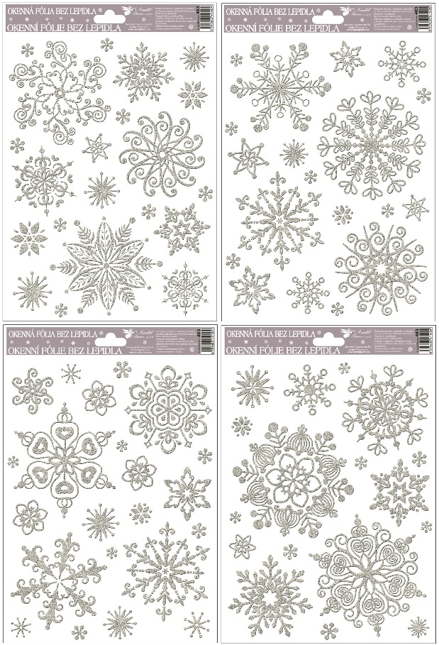 Okenní fólie vločky sněhový efekt stříbrná 463 , 30x20cm Typ: 1