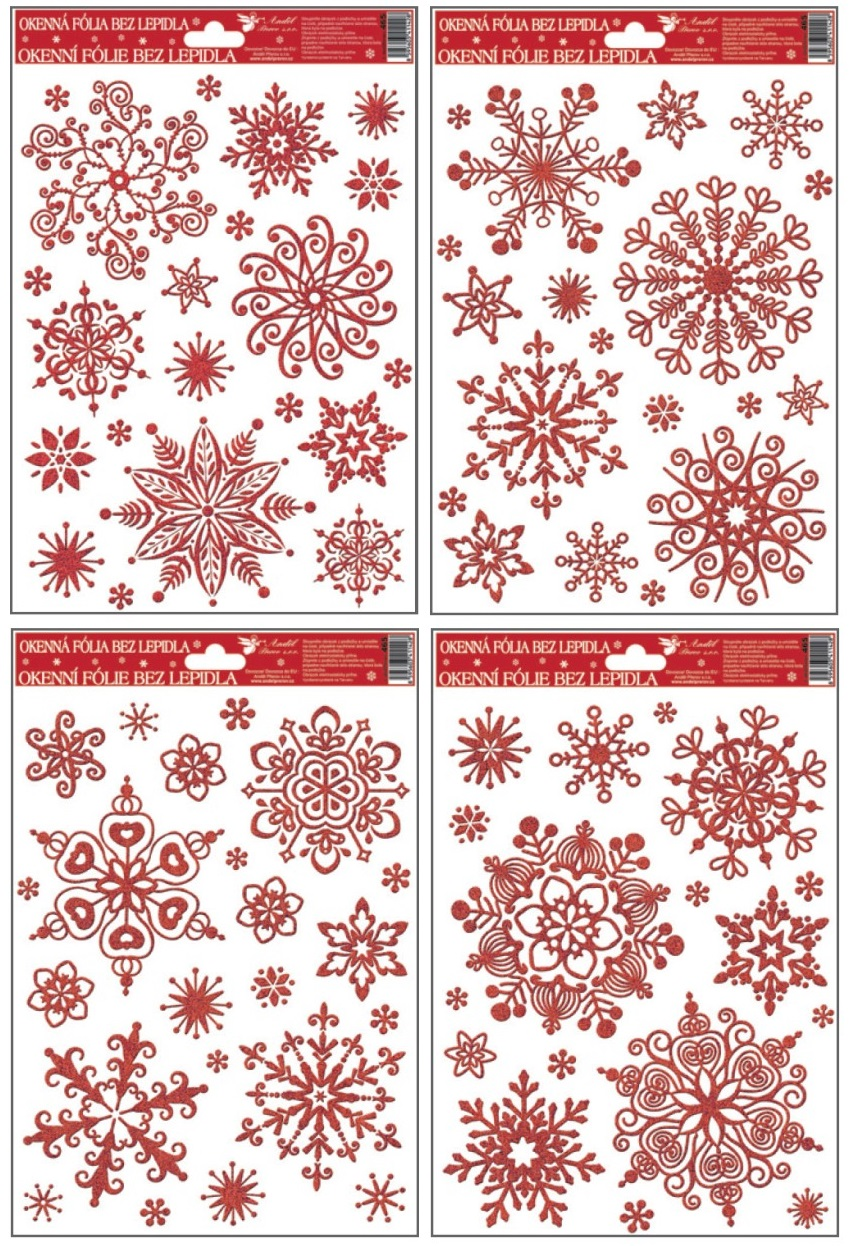Okenní fólie vločky sněhový efekt červená 465 , 30x20cm Typ: 1