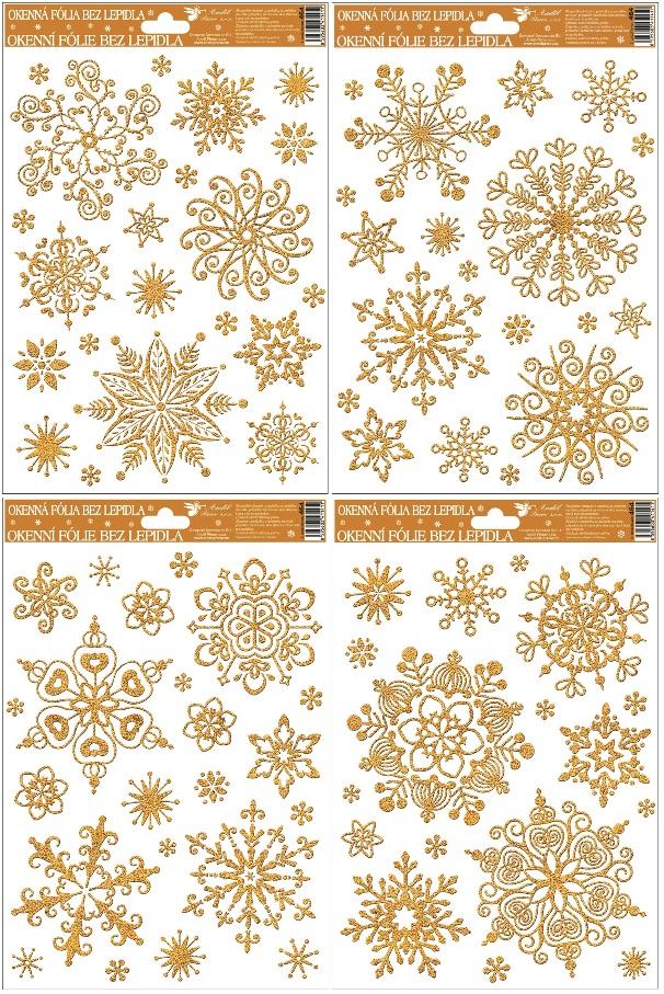 Okenní fólie vločky sněhový efekt zlatá 464 , 30x20cm Typ: 1