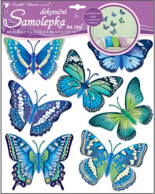 Samolepky na zeď motýli modří 38x31 cm 10163