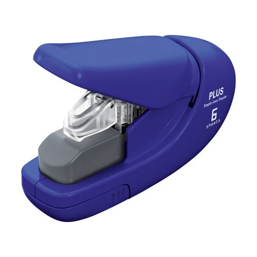 Sešívačka PLUS Paper Clinch mini 106AB (na 6 listů) modrá