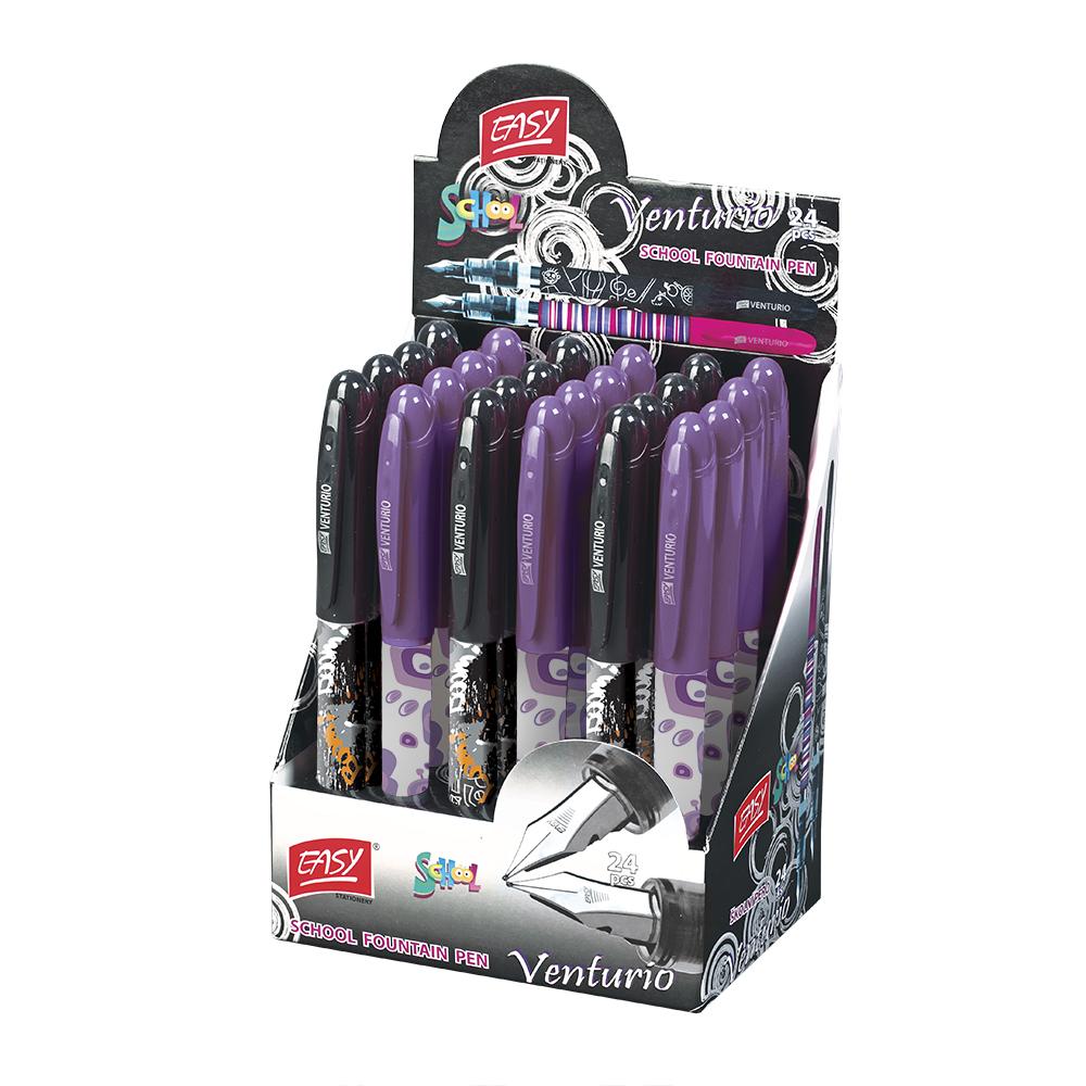 Školní pero bombičkové VENTURIO mix fialovo- černý