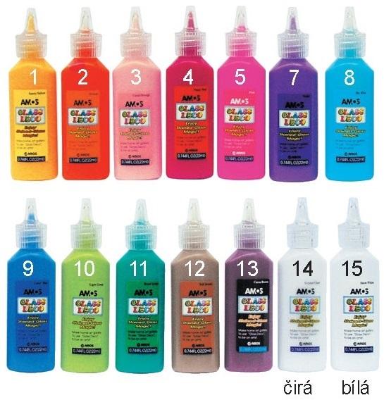 Barvy na sklo 22 ml-jednotlivé GDcolour barva na sklo: č.3 KORÁLOVÁ
