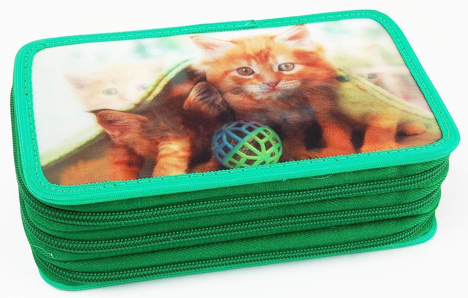 Penál třípatrový 3D Action Kočky zelený