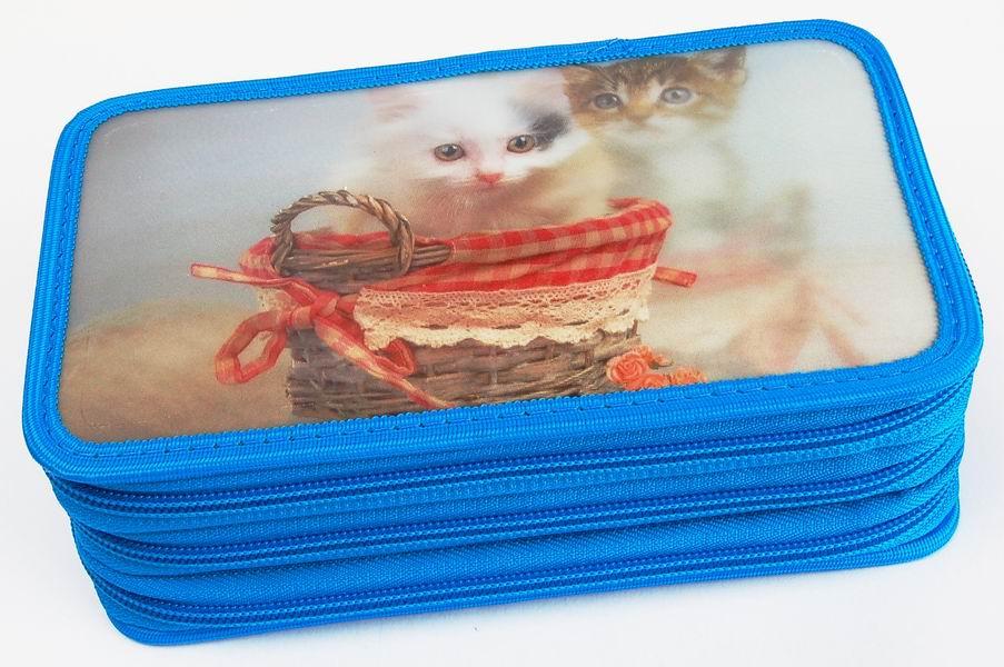 Penál třípatrový 3D Action Kočky modrý