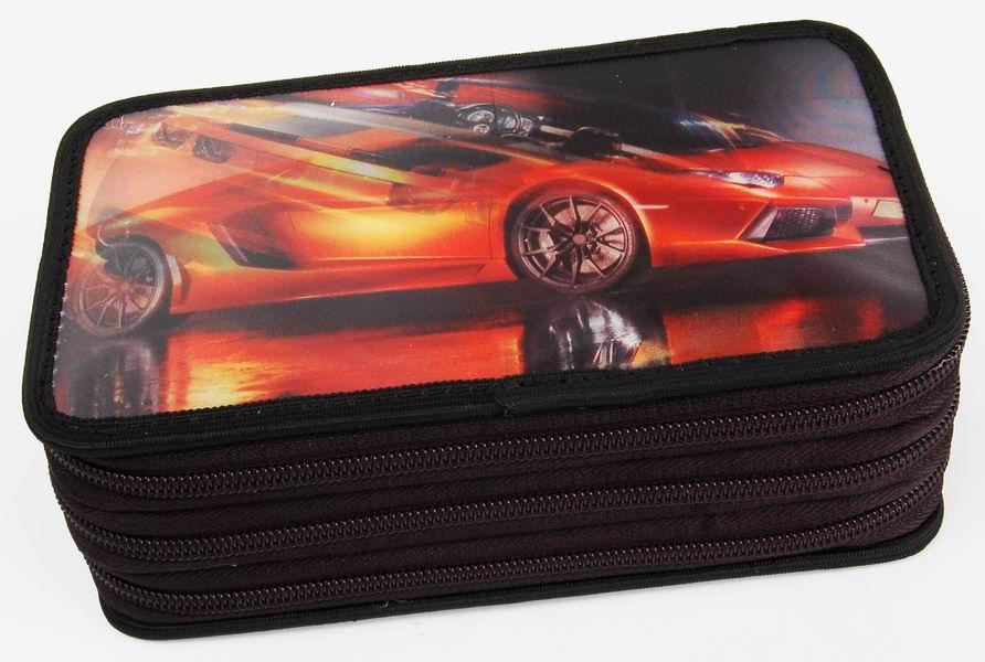 Penál třípatrový 3D Action Červený auto