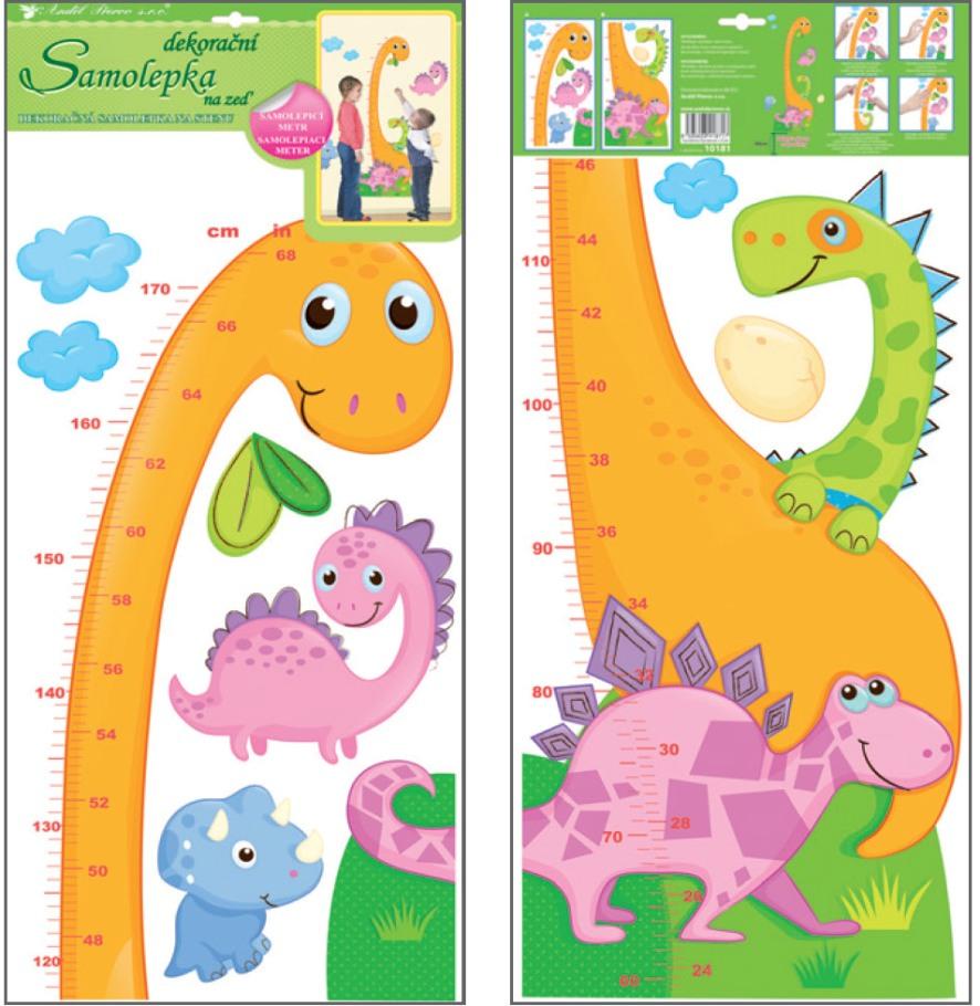 Samolepka na zeď dětský metr dinosaurus 10181 , 120 x 32 cm