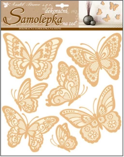 Samolepky na zeď motýli s prostorovými křídly zlatí 10186 , 30,5 x 30,5 cm