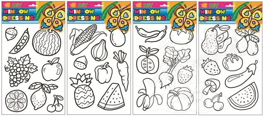 Předlohy na malování na sklo s vyvýšenou konturou ovoce a zelenina 31x20cm 1546 Předlohy: 1. S CITRONEM