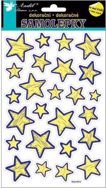 Samolepky svítící ve tmě 21x14 cm, hvězdy 10208