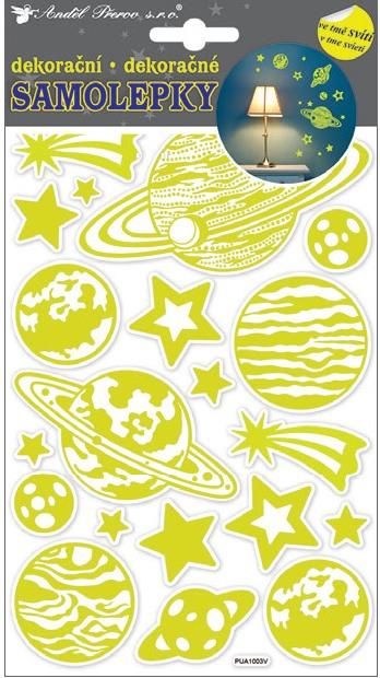 Samolepky svítící ve tmě 21x14 cm, planety 10209